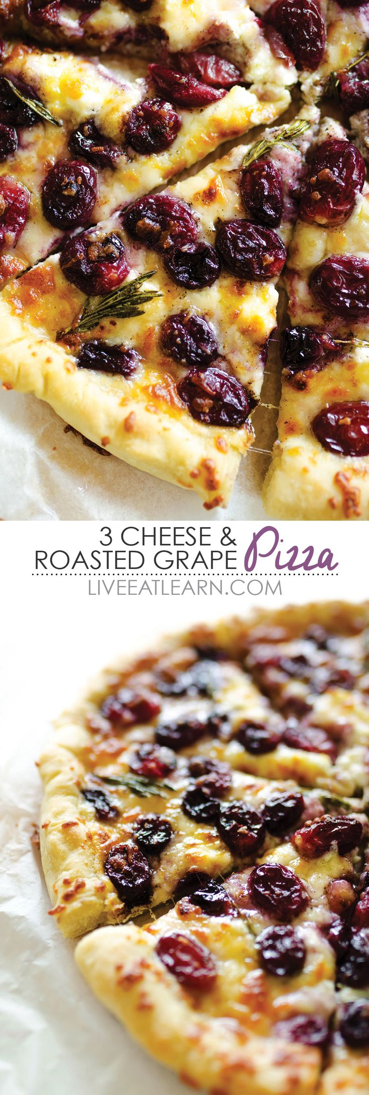 This 3 Cheese Roasted Grape Pizza recipe is packed with creamy ricotta, mozzarella, and parmesan cheese, and is topped with savory, rosemary infused roasted red grapes. This is a healthy, addictive vegetarian pizza that you'll want to make for dinner every night!// Live Eat Learn