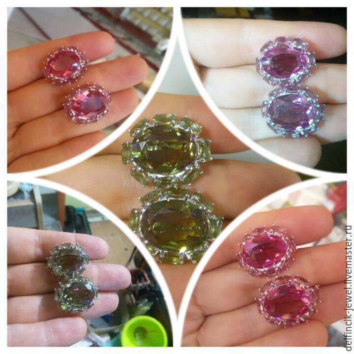 Купить Серьги из серебра с султанитом Принцесса - разноцветный, султанит, диаспор, камень-хамелеон, кольцо с султанитом