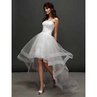 Lanting Bride® Ball Gown Petite / Plus Sizes Wedding Dress Little White Dresses Asymmetrical Strapless Tulle with Ruche / Side-Draped – USD $ 99.99
