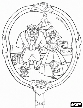 beauty and the beast christmas mirror coloring page