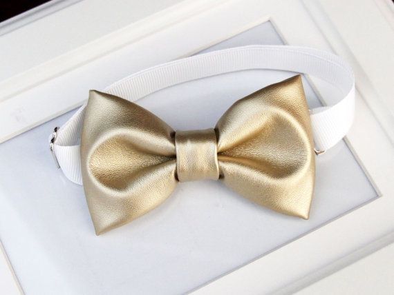 Light metallic gold bow-tie & tan elastic by bananaribbon on Etsy