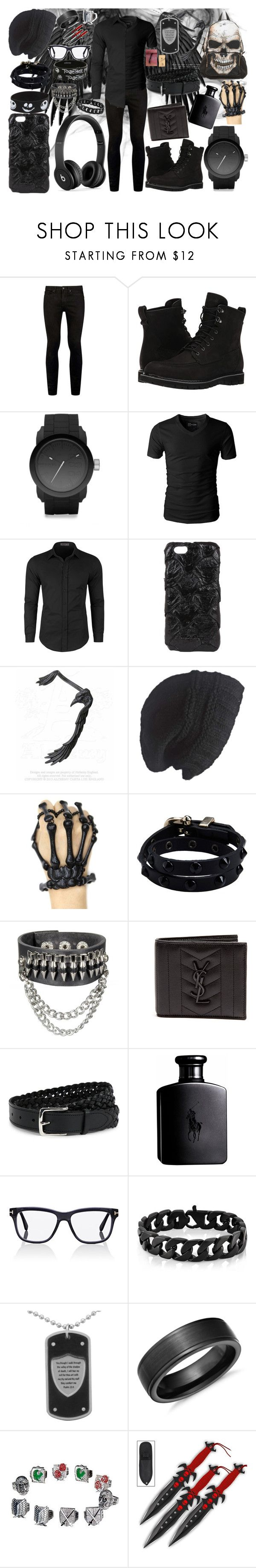 """""""Black Out Mens outfit"""" by vampirekitty34 ❤ liked on Polyvore featuring Topman, Timberland, Diesel, Doublju, Rick Owens, Laundromat, Beats by Dr. Dre, LIU•JO, Disney and Yves Saint Laurent"""