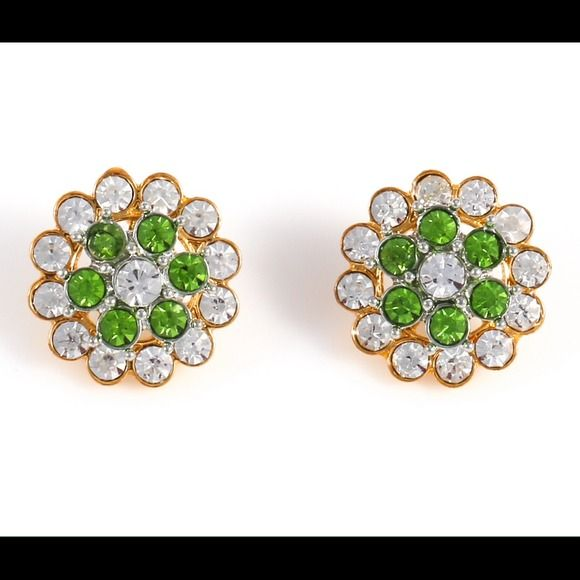 Emerald green and clear crystal stud earrings Stunning sparkling studs with green and clear crystals. Metal: zinc alloy 18 karat gold plating Diameter of earring: 20mm Jewelry Earrings