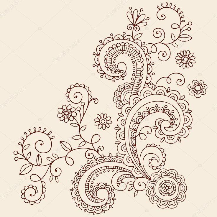 Downloaden - Henna mehndi paisley bloemen en wijnstokken doodle vector ontwerp — Stockillustratie #8247892