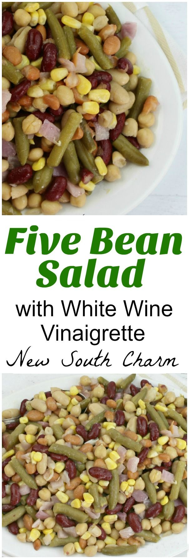 Looking for a fresh, easy side Five Bean Salad with White Wine Vinaigrette is perfect for grilled chicken or steaks but it's a great alternative to fries or chips with burgers too.