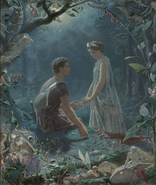 "John Simmons (British, 1823-1876) – Hermia and Lysander, A Midsummer Night's Dream, 1870 (Watercolor heightened with gouache on paper laid down on canvas) – Shakespeare's forbidden lovers Lysander and Hermia travel through the enchanted wood to find safe haven. They find themselves lost and decide to sleep, oblivious to the surrounding multitude of fairies and woodland creatures. Lysander holds Hermia's ringed finger while touching the loamy moss of the forest floor explaining ""One turf…"