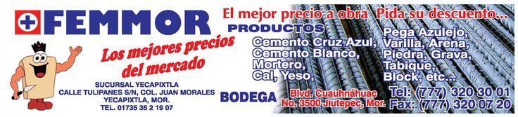FEMMOR Materiales para Construcción (777) 230-30-01 Materiales Venta Jiutepec Morelos Cuernavaca Yecapixtla