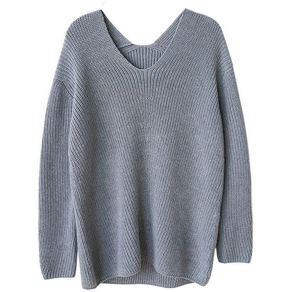 Grey Oversized High & Low V Neck Soft Wool Sweater found on Polyvore featuring tops, sweaters, grey, grey sweater, grey wool sweater, woolen sweaters, grey top and over sized sweaters