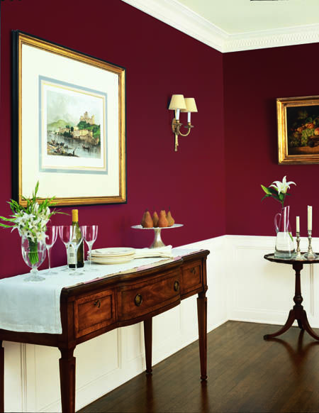 Red Colour Wall: Dunn-Edwards Paints Paint Colors: Wall: Deep Crimson