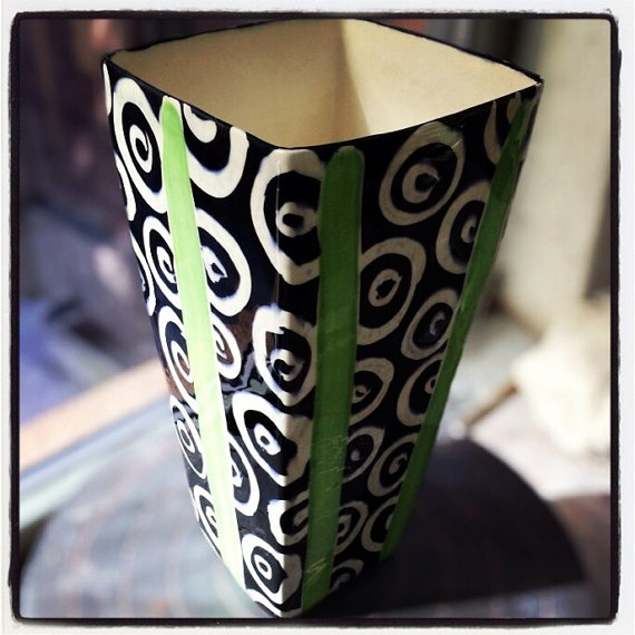 Large Square Vase / graphic pattern / black and white by Mayware, $75.00