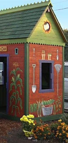painted shed.  I did one with roosters at our old house but this is adorable
