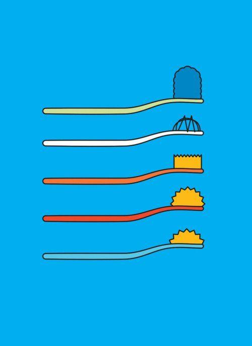 Os Simpsons versão escovas de dente by John Tibbott :D