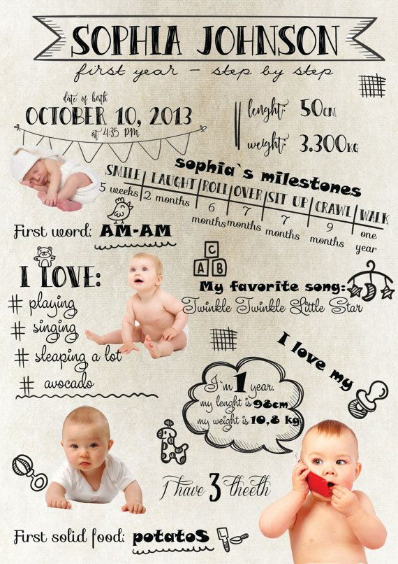 LARGE custom designed one year baby by CreativeLittleCloud on Etsy