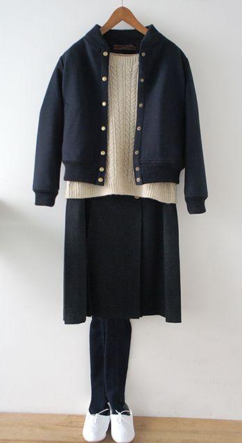 Lisette   リゼッタ ジャケット スカート 手編みニットcoat skirt handknit marin