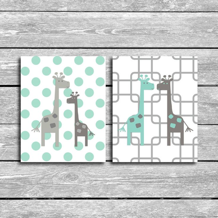 Set Of 2 Giraffe Printables - 8x10 inch Mint and Grey Nursery Art- Coordinates With Peanut Shell Uptown Giraffe Bedding - Baby Shower Gift by MyPrintBoutique on Etsy