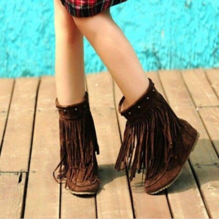 Women's Rivets Tassel Fringe Slouchy Flat Hidden Wedge Moccasin Ankle Boots Size