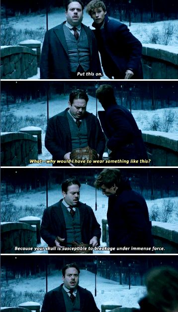"""Your skull is susceptible to breakage under immense force."" Newt fails to reassure Jacob, Fantastic Beasts and Where to Find Them."