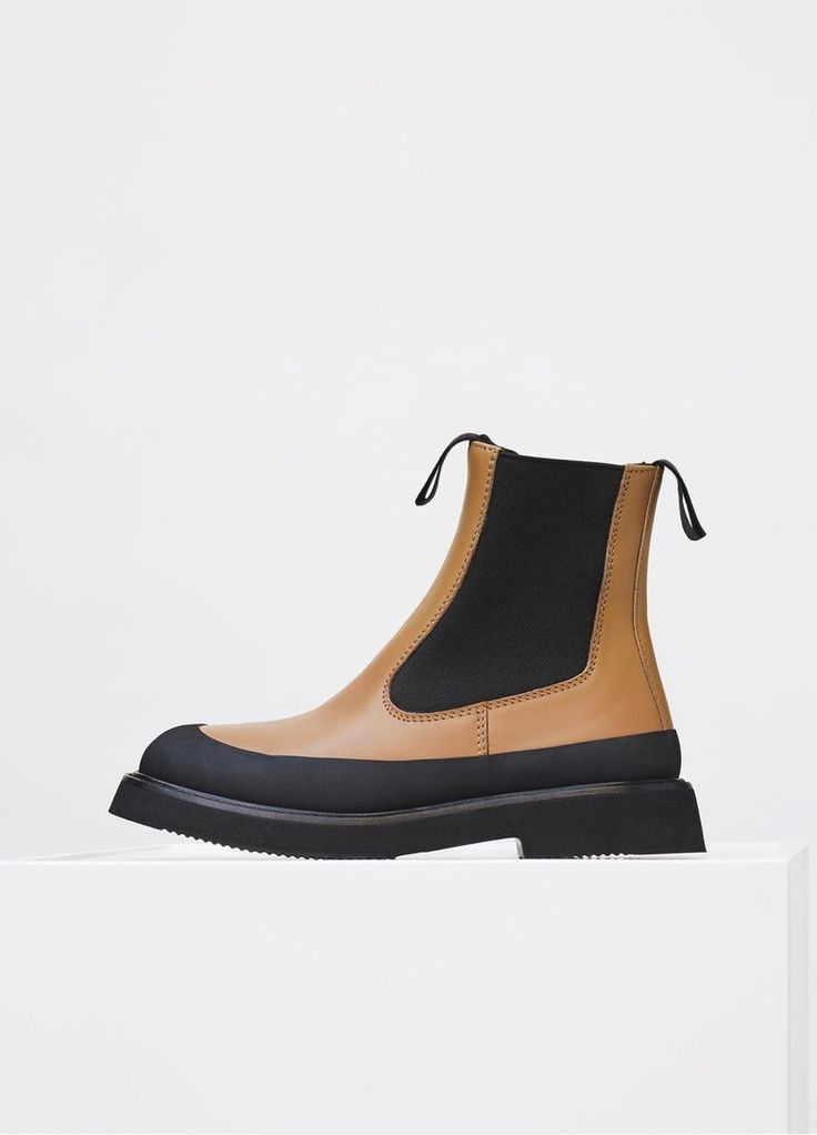 Country Ankle Boot in Calfskin & Shearling - Céline