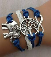 3pcs pulsera infinito plata, Deseando árboles pulseras , elefantes , pulsera cuerda de cuero , el mejor regalo , 848