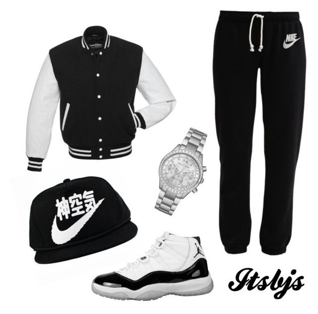 Black/Nike/Jordan11/white by itsbjs on Polyvore featuring polyvore, fashion, style, NIKE and Michael Kors
