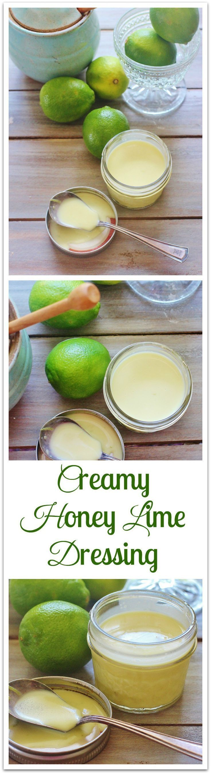 Creamy Honey Lime Salad Dressing. Tart from lime and sweet from honey. Goes well with chicken and seafood. #syrupandbiscuits