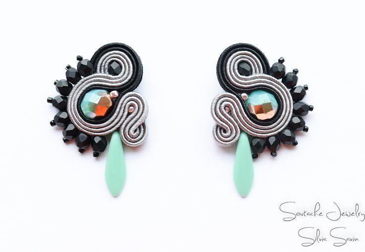 Turquoise / Grey / Black Soutache earrings