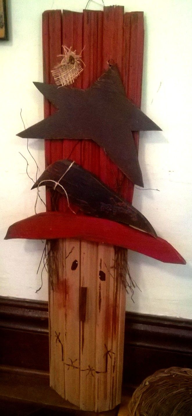 Primitive fall wood crafts - Primitive Hand Crafted Wood Scarecrow Head Scarecrowsprimitive Fallprimitive Craftswood