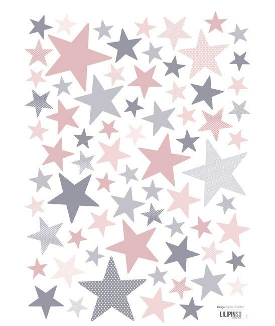 """Stickers infantiles estrellas rosa y gris """"My SuperStar : Ballerina"""""""