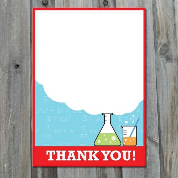 science birthday thank you card  diy printable  laboratory