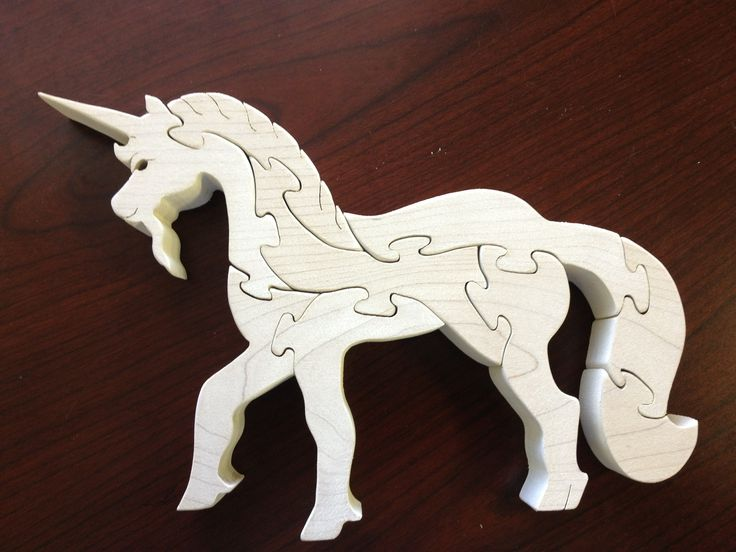 Unicorn puzzle done on my scroll saw.