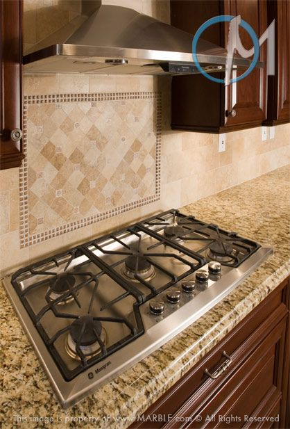 The Warm Brown Tones Of This Backsplash Mural Accentuate The Honey Colored  New Venetian Gold Granite