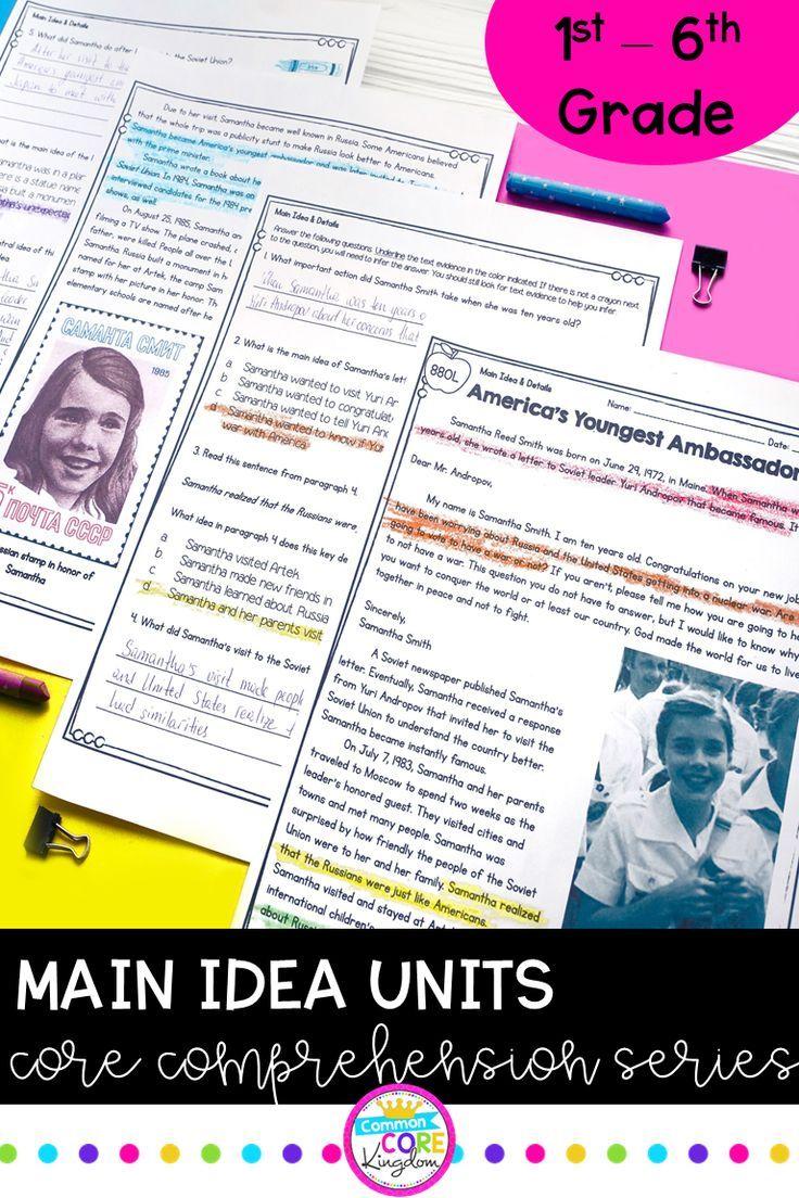 Main Idea Resources 6th grade reading, Reading