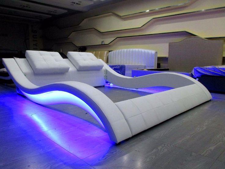 LED de control remoto de audio moderno contemporáneo cuero saco de cama muebles de dormitorio de matrimonio Hecho en China