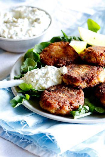 Smoked Snoek fish cakes with apricot tartar sauce. #recipe #fish #dinner