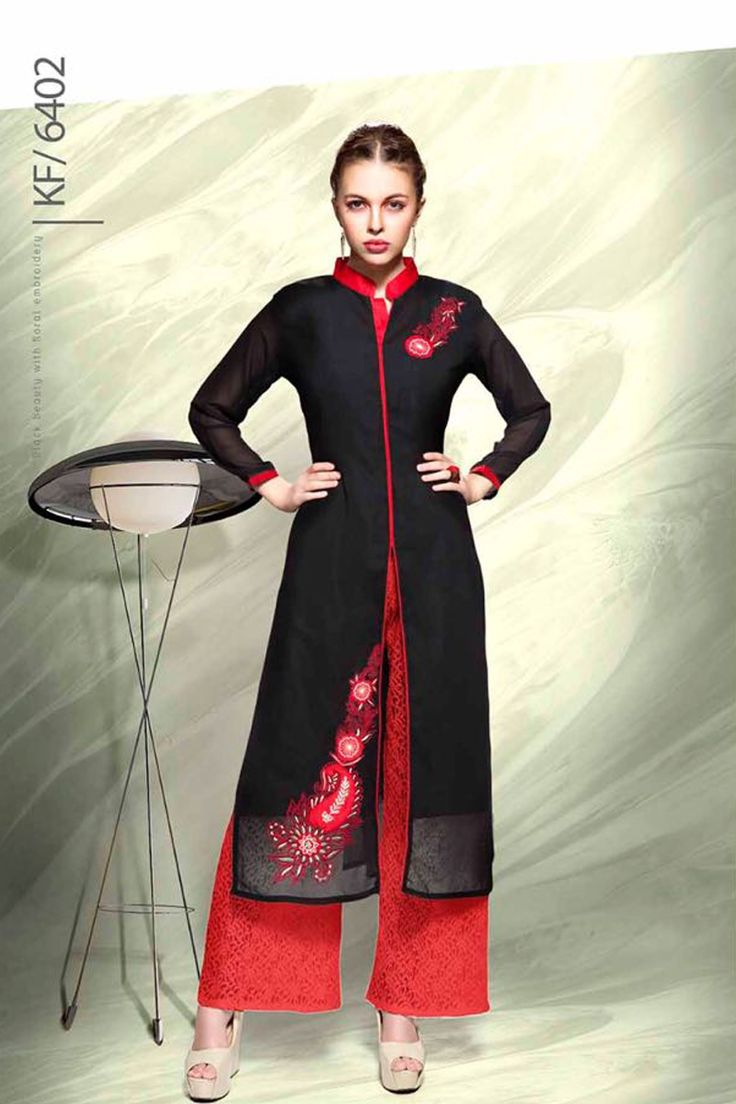 Designer Real Georgette Black Kurtis For Office Wear Or Casual Wear With Embroidary Work.......