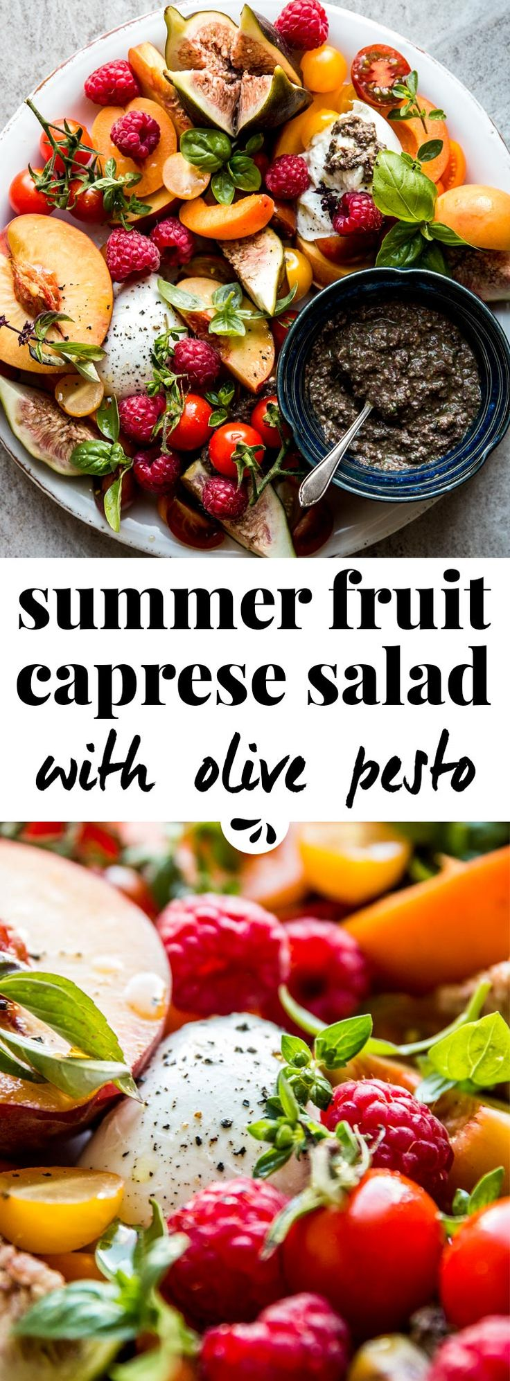 This summer fruit caprese salad is healthy, easy, simple & full of fresh produce. Cherry tomato, peach, raspberry, figs and more stone fruit turn it into the best with buffalo mozzarella or burrata. Traditional Italian caprese doesn't have a dressing with balsamic vinegar. Instead, serve with black olive and basil pesto on the side. The perfect meal with a loaf of ciabatta bread and some prosciutto. Arranged on a platter for nice presentation, great to impress a crowd at your next dinner…
