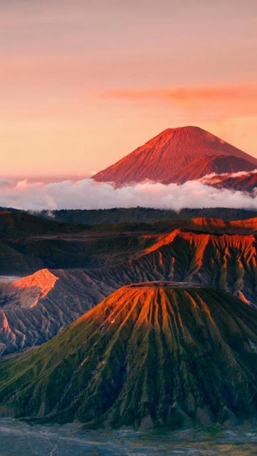 Mount Semeru and Mount Batok at Bromo Tengger Semeru National Park in East Java, Indonesia