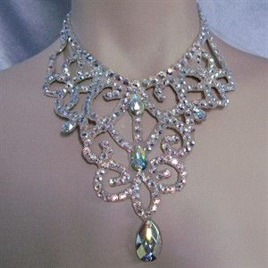 Ballroom Crystal Swirl and Lace Necklace