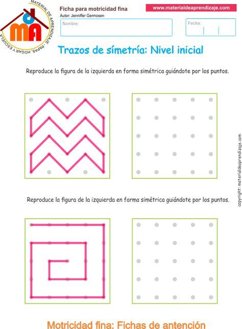 Ejercicio 11: Trazos de simetría. Copia los trazos lineales y las formas de manera simétrica guiándote por los puntos.