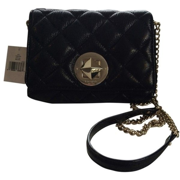Pre-owned Kate Spade Gold Coast Dove Black Cross Body Bag ($214) ❤ liked on Polyvore featuring bags, handbags, shoulder bags, black, quilted shoulder bag, purse shoulder bag, chain shoulder bag, kate spade purses and crossbody purses