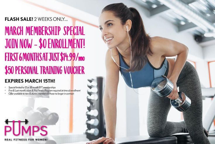 Don't miss our March Membership Special FLASH SALE - 2 WEEKS ONLY! LINK IN BIO Join now - $0 enrollment! First 6 months at just $14.99/month Receive $50 personal training voucher OFFER ENDS MARCH 15TH! Limitations apply - see details . #pumps #pumpsfit #march #membershipspecial #flashsale #promotion #membership #discount #personaltraining #voucher #motivation #determination #fitness #woburngym #woburnma