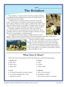 Reindeer are not just for Christmas, as your student will learn in this illustrated comprehension and vocabulary worksheet with an informational text passage. Free printable.