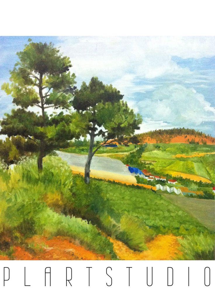 Plein Air painting- Da Lat hillpath forest townscape landscape original painting oil on canvas 50x60cm by PlartStudio on Etsy