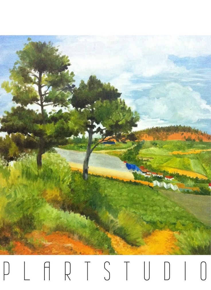 Plein Air painting- Da Lat hillpath forest townscape landscape original painting oil on canvas 50x60cm by PlartStudio on Etsy
