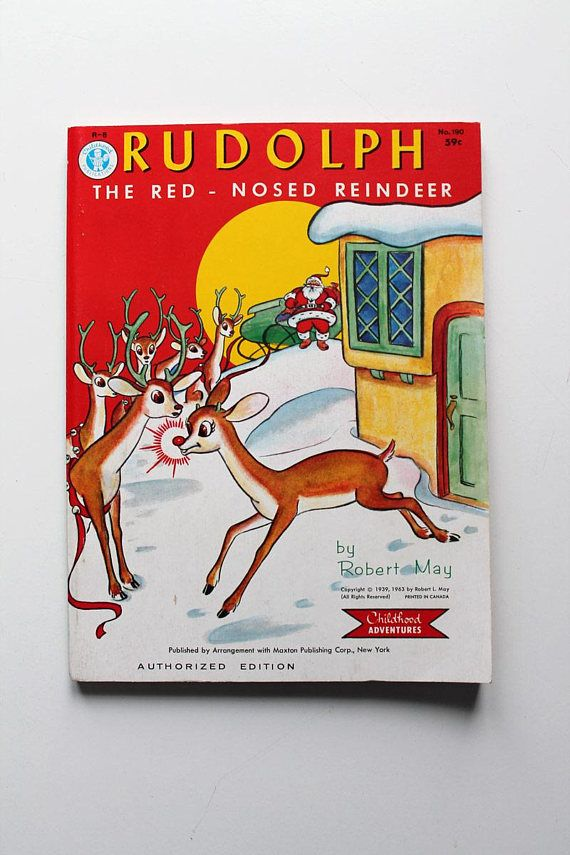 Super Rare Rudolph The Red Nosed Reindeer By Robert May Etsy Rudolph The Red Coloring Books Red Nosed Reindeer