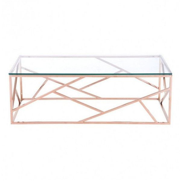Zuo Modern Cage Rose Gold Coffee Table By (1 745 PLN) ❤ liked on Polyvore featuring home, furniture, tables, accent tables, zuo table, zuo furniture, slim coffee table, zuo and roses furniture