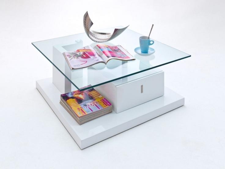 VERNA Couchtisch Mit Glasplatte Und Schubkasten 85 X 34 Cm