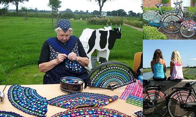 "crochetingclub: crocheting bicycles. ""dress guards"" #Overijssel #Staphorst"