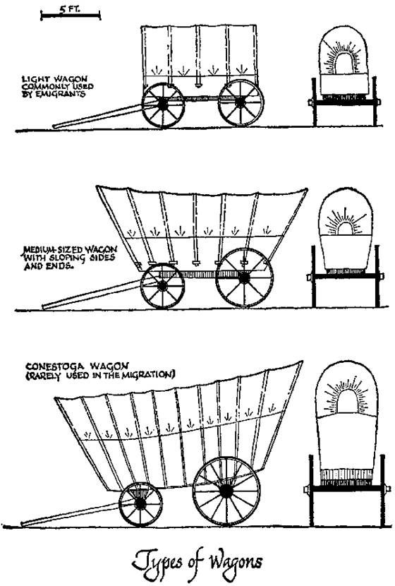 Types of covered wagons. In 1850 a count at Fort Laramie showed 36,116 oxen passing through and only 7,548 mules. The number of oxen to the wagon varied considerably. Four—that is, two yoke—was the minimum. Three yoke was perhaps the average, but four was not uncommon; six yoke was probably the maximum that could be handled on the twisting mountain roads.