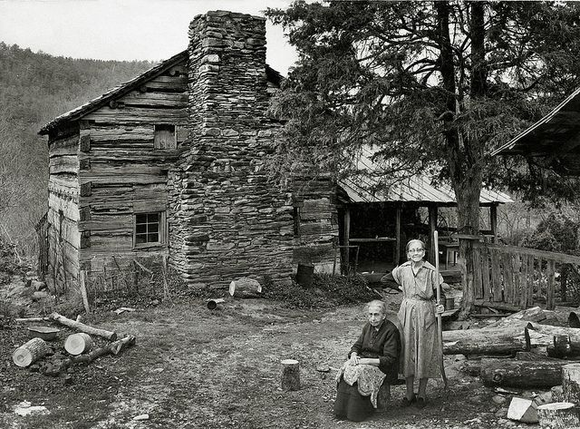 Vintage Photo of the Ladies of the House Outside Their Log Cabin